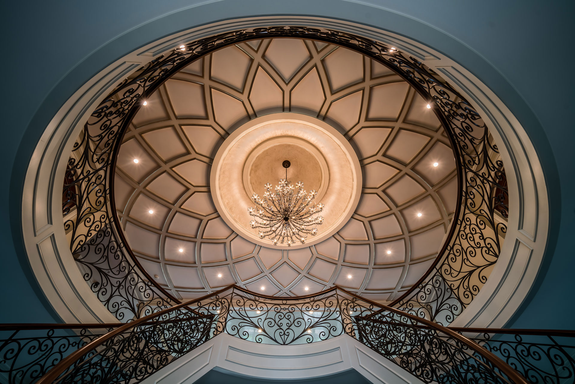 Staircase ceiling chandelier